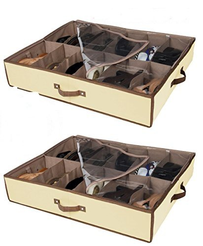 Set of 2 Under Bed Shoe Storage - All 4 Sides is Sturdy- Drawers,Closet Box Organizer Natural Canvas with See-Through Top, Brown Trim, Size: 23 ½'' x 29 ½'' x 5''