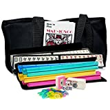 American Mah Jongg Soft Bag Case New 166 Tile Set with 4 Color Rack and Pusher Combos, Black