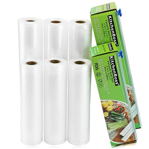 KitchenBoss Vacuum Sealer Bags Rolls with Cutter