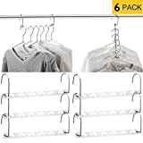 MeetU Space Saving Hangers Wonder Metal Clothes Hangers Stainless Steel 6X2 Slots Magic Hanger Cascading Hanger Updated Hook Design Closet Organizer Hanger (Pack of 6)