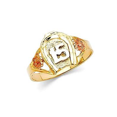 1f6008138a41 14 K Tri-color Oro 15 Anos quinceañera anillo de herradura de caballo   American Set Co.  Amazon.es  Joyería