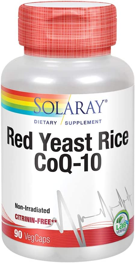Solaray Red Yeast Rice Plus CoQ-10 | with Niacin for Added Cardiovascular Health Support | Non-Irradiated & No Citrinin | 90 Vegetarian Capsules: Health & Personal Care