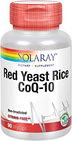 Solaray Red Yeast Rice Plus CoQ-10 | with Niacin for Added Cardiovascular Health Support | Non-Irradiated & No Citrinin (90 CT)