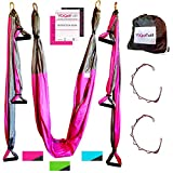 Aerial Yoga Swing - Gym Strength Antigravity Yoga Hammock - Inversion Trapeze Sling Equipment with Two Extender Hanging Straps - Pink Grey Swings & Beginner Instructions Guide