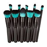 WuyiMC 10 Pcs Makeup Brush Set Cosmetics Foundation Blending Blush Face Powder Brush Makeup Brush Kit (Black 2)