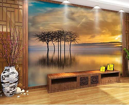 Wall Mural 3D Sunset Glow Small Tree Ireland Wallpaper 3D Large Murals Modern Living Room Bedroom Wall Decoration