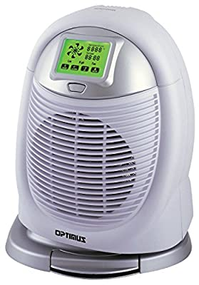 Optimus H-1410 Portable Digital Oscillating Fan Heater with Thermostat and Touch-Screen Control