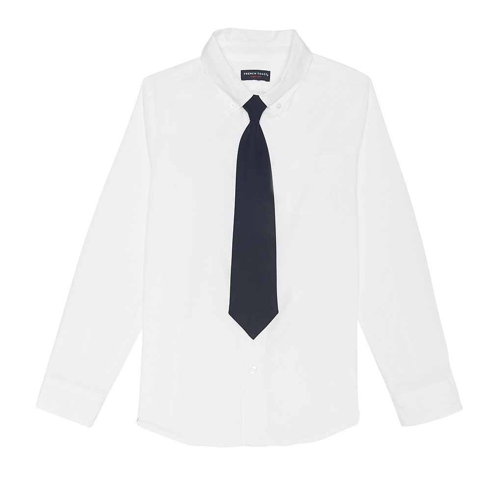 French Toast Boys' Big Long Sleeve Dress Shirt with Tie White 8