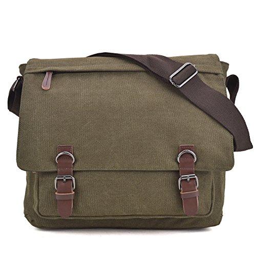 - Large Vintage Canvas Messenger Shoulder Bag Crossbody Bookbag Business Bag for 15inch Laptop Army Green