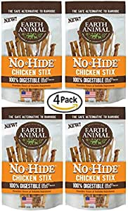 "Amazon.com : Earth Animal 4 Pack No-Hide 6"" Chicken Stix"