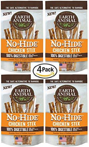 "Earth Animal 4 Pack No-Hide 4.5"" Chicken Stix Dog Treats, 10 Per Bag, 40 Stix Total"