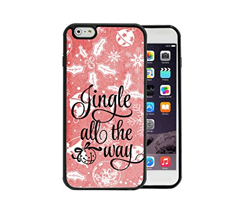 (Jingle All The Way Christmas Song Quote Red Grunge xmas Ornaments Apple iPhone 6/6S Plus, 5.5 Rubber TPU Silicone Phone Case - FITS IPHONE 6 PLUS & IPHONE 6S PLUS )