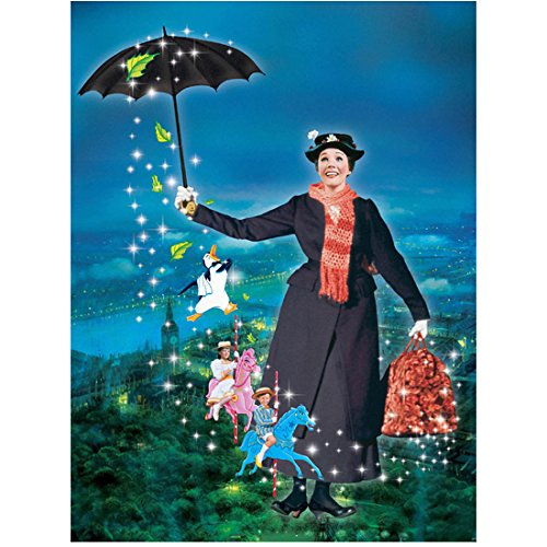 (Mary Poppins (1964) 8 inch x10 inch photograph Julie Andrews Flying w/Magic Umbrella Children on Carousel Horses kn)