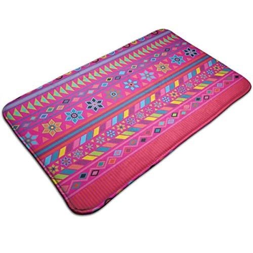 Koperororo Peruvian Stripe Hot Pink Memory Foam Bath Mat Non Slip Absorbent Super Cozy Bathroom Rug ()