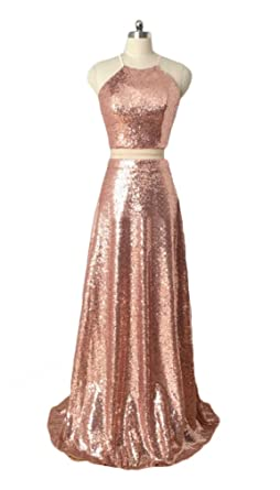 2018 Rose Gold Two Piece Prom Dresses For Women Sequin Prom Gowns