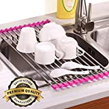 Roll-Up Dish Drying Rack Mats Stainless Steel Drain Board Foldable Easy to Storage(Purple)