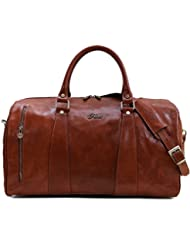Floto Collection Duffle Bag in Brown Italian Calfskin Leather