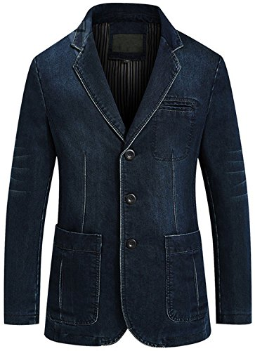 Chouyatou Men's Classic Notched Collar 3 Button Tailoring Distressed Denim Blazer Jacket (Large, Dark Blue)