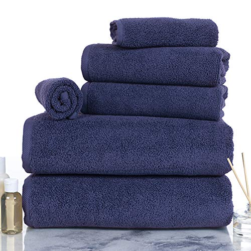 Lavish Homes 67-0017-BLA 6 Piece Cotton Towel Set44; Navy