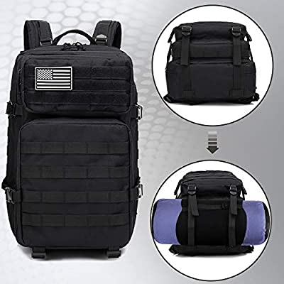 Monoki Military Tactical Backpack, 42L Army 3 Day Assault Pack, Large Molle Bug Out Bag Backpacks Rucksack for Outdoors Hiking Camping Hunting Trekking Traveling, with 10Pcs Gift Kits - Black