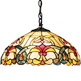 Tangkula Tiffany Style Hanging Lamp - Stained Glass Lamp Shade Light with Iron - Antique Style Chandelier - 2 Light Bulbs Pendent Ceiling Fixture - Perfect for Home Décor (Golden - 16 inches)