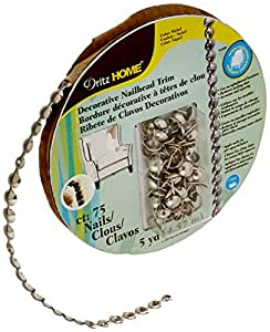 Dritz 44286 Upholstery Nailhead Trim, Silver, 5-Yard