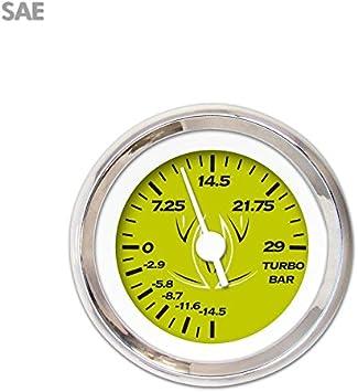 White Vintage Needles, Chrome Trim Rings, Style Kit Installed Aurora Instruments 1083 Pinstripe Green SAE Turbo Gauge