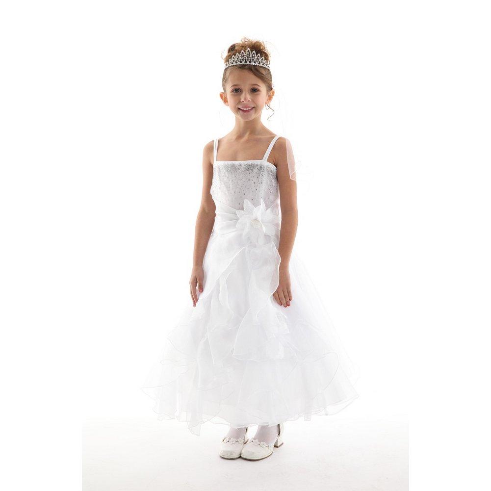 c573a1994 Cenicienta Couture Big Niñas Cristal Blanco Organza cascada volantes  vestido 8 - 14  Amazon.es  Ropa y accesorios