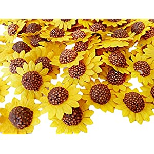 NAVA CHIANGMAI Sunflowers Mulberry Paper Flower Yellow Paper Sunflower Brown Centre Miniature Flowers DIY Wedding Decor Sunflowers Fake Flowers Heads Artificial Mulberry Paper 107