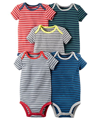 William Carter Baby Boys' 5 Pack Colored Bodysuits (Baby) Stripes, 3 Months (Stripe Knit Layette)