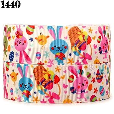 "10yards 1"" 25mm colorful rabbit Easter day printed Grosgrain Ribbon"