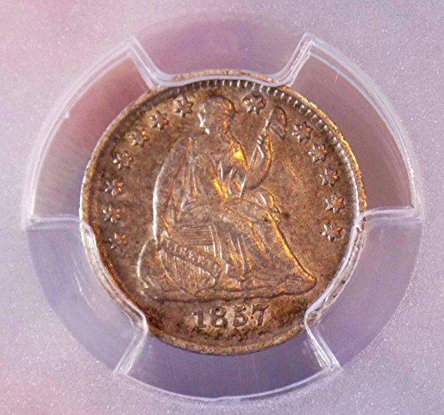 Half Dime 1857 PCGS XF 40+++ Under Grade SHould be AU Has Luster Bold Sharp Coin