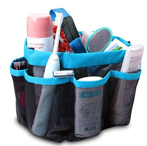 ONEVER-Shower-Organiser-Quick-Dry-Hanging-Shower-Caddy-Toiletry-Organiser-Cosmetic-Storage-Bags-with-8-Mesh-Pockets-Mildew-Resistant-Water-Resistant-for-Home-Travel-GYM-Dorm-Camp-Bathroom-Multifunctio