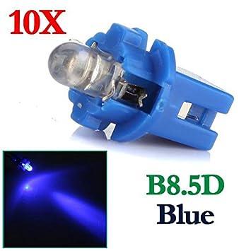 AUDEW 10 x T5 B8.5D Auto LED cuadro de transición bombilla coche DC 12 V Azul Luz: Amazon.es: Coche y moto
