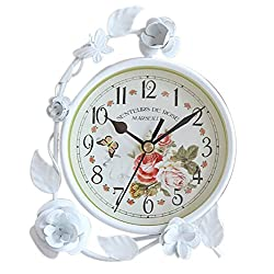 Exquisite Mute Iron Craft Table&Mantle Clock Home Decor [White Flowers]