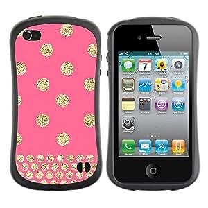 Suave TPU GEL Carcasa Funda Silicona Blando Estuche Caso de protección (para) Apple Iphone 4 / 4S / CECELL Phone case / / Polka Dot Gold Pink Glitter Yellow Pattern /