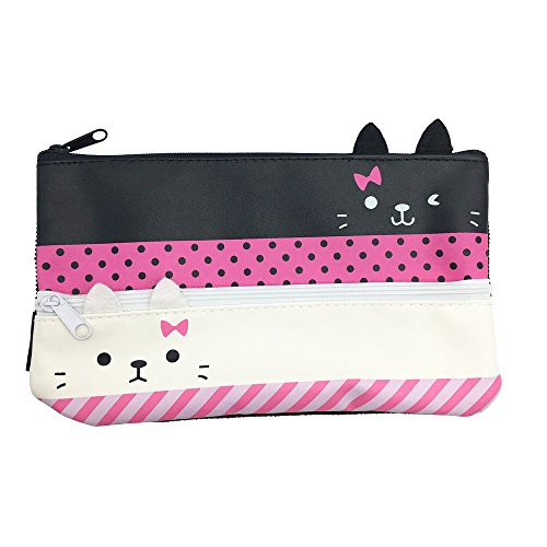 Mziart Cute Kitten Pen Pencil Case Double Cat Zipper Station