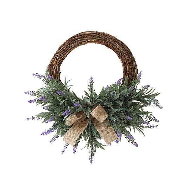 Calcifer 9.84 Inch Artificial Garland Silk Flower Wreath Hanging Flowers Lavender for Front Door, Wall, Home, Garden,Wedding,Party Decoration
