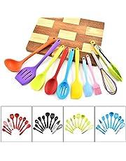Hoshen 5-kleuren stijl 10-delig keukengerei niet-Stick Pan siliconen keukengerei hittebestendige spatel set koken spatel