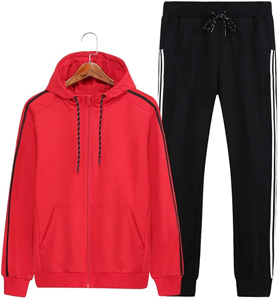 Mens Athletic Full Zip Fleece Tracksuit Sports Sets Casual Sweat Suit