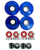 NEW LONGBOARD CRUISER WHEELS 60X44MM COLOR CLEAR BLUE W/ABEC7 BEARING & SPACER