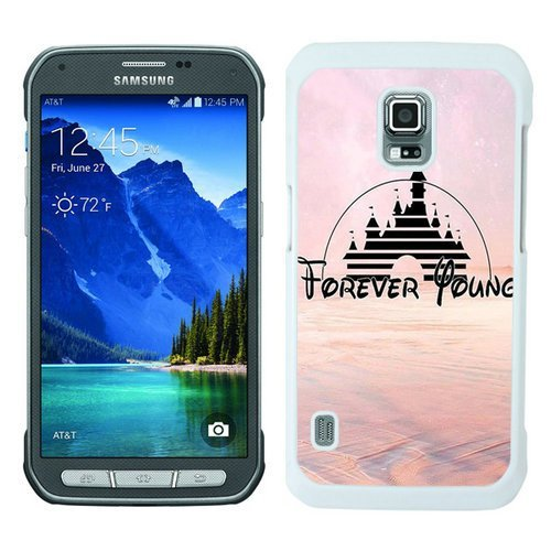 BEIWU Generic S5 Active Protective Case,Forever Young Walt Disney Castle World Cute Carrying Ultra Slim Case Fit for Samsung Galaxy S5 Active(White)