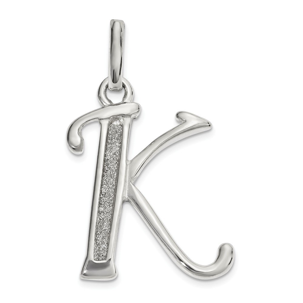 Jewel Tie 925 Sterling Silver Polished Glitter Enamel Letter K Pendant 15mm x 25mm