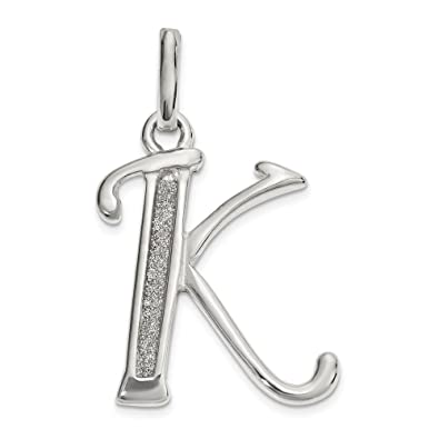 """/""""K/"""" enamel letter charm or pendant."""