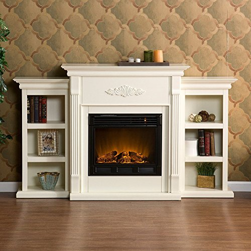 Carved Mantle - Beautiful White Ivory Hardwood Fireplace / Mantle Electric W/ Remote & Book Shelves Carved Design