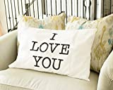 I Love You & Love You More Cotton Polyester Standard Size Pillowcase Pair for Bedroom, Home Decoration Set, Anniversary Valentines Day Gift