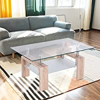 Tangkula Rectangular Glass Coffee Table Shelf Wood Living Room Home Furniture (Bright Wooden)