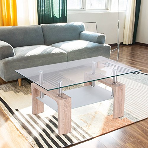 TANGKULA Rectangular Glass Coffee Table Shelf Wood Living Ro