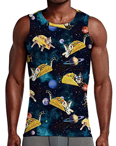 Sleeveless Roll - NEWISTAR Men 3D Cat Roll Space Galaxy Tank Top Cool Sleeveless Graphic Tee Top