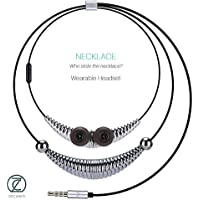 ZECEEN Wired Earphones Necklace – Ergonomic Wearable Headphones – Non-Slip Earbuds Necklace – Jewellery with a Rhythm – Compatible with all Phones & Devices with 3.5 mm Jack – Built in Microphone